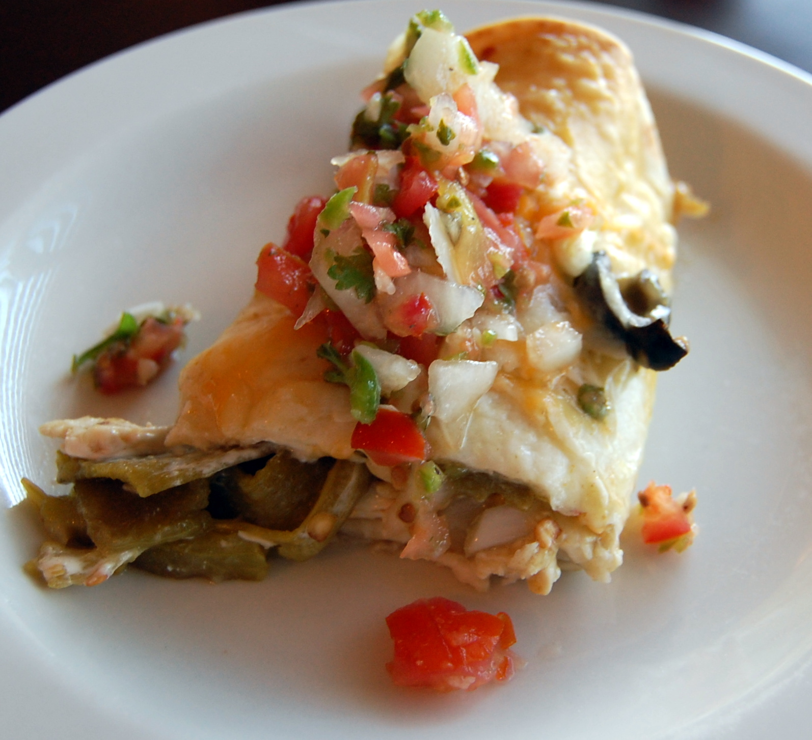 These green chile and chicken enchiladas filled with cream cheese ...